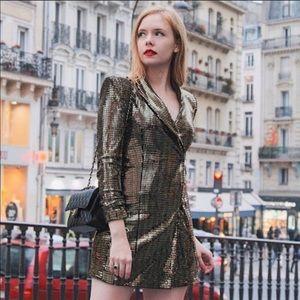 New with tags Zara gold blazer dress. Size medium